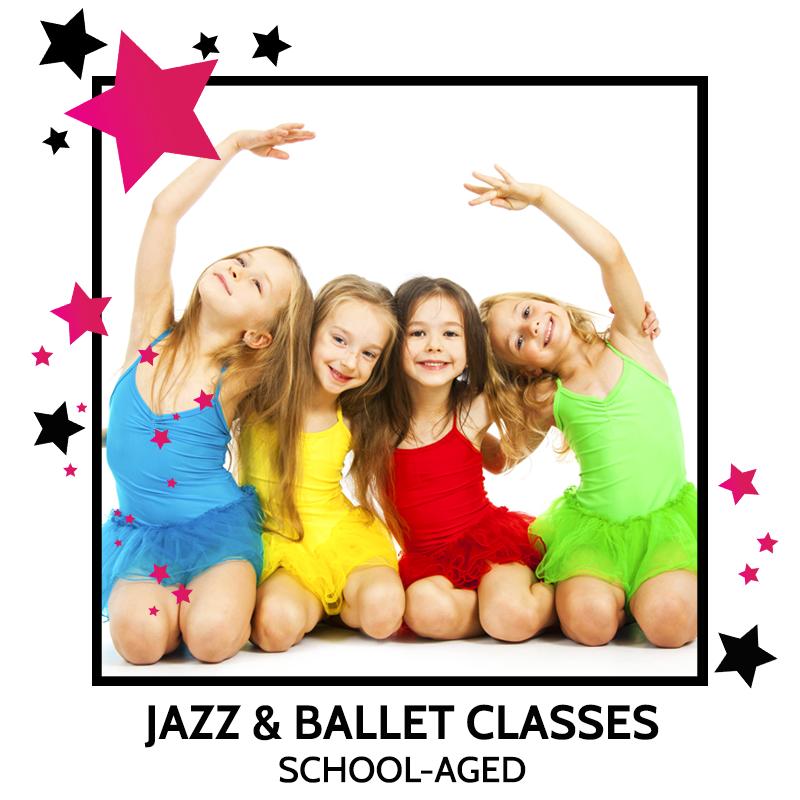 girls in ballet and jazz class at dance studio
