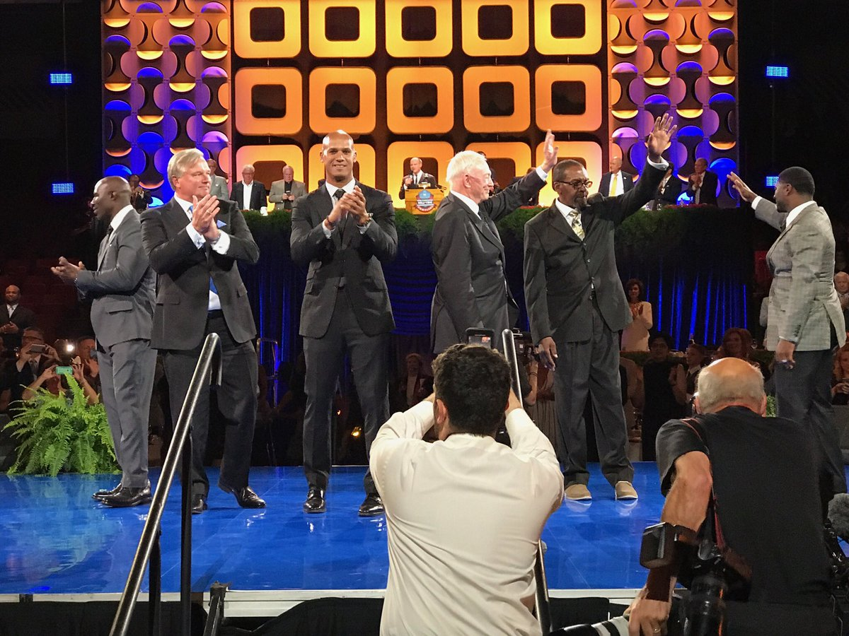 From  @ ProFootballHOF  -- The 2017 Pro Football Hall of Fame inductees take the stage
