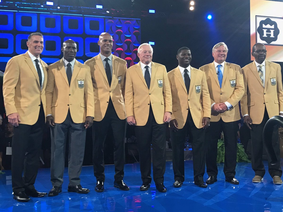 From  @ ProFootballHOF  -- The Class of 2017 on the stage