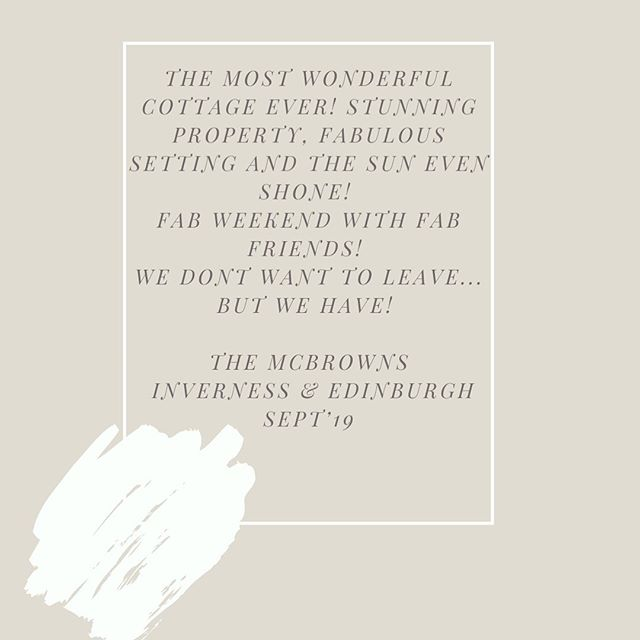 High praise indeed from our latest guests. ☺️ If you would like to stay with us for a long weekend, we've some availability from Friday 15th November, perfect autumnal season plans 🍂🍂🍂 #minibreak #holiday #travel #scotlandtravel #romanticescape #familytime