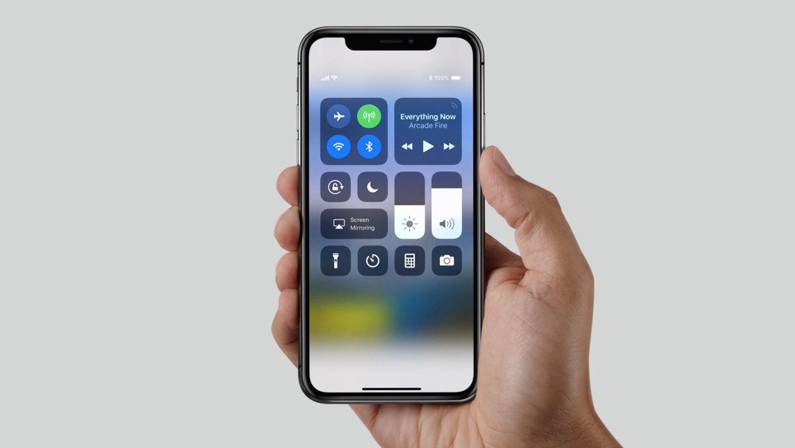 iOS 11 Control Centre on iPhone X