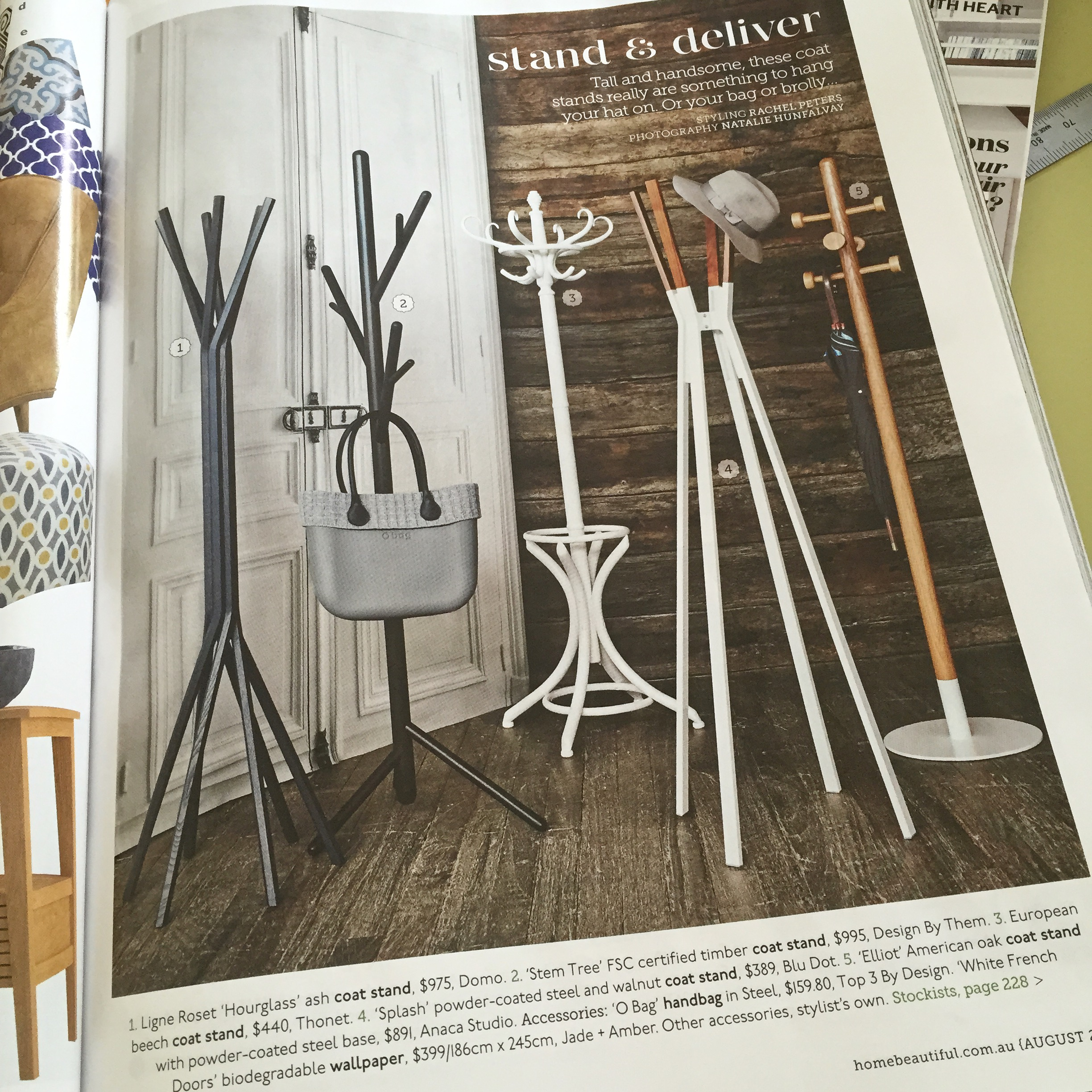 "August 2015 - Home Beautiful - ""Stand & Deliver"" featuring the Elliot coat stand"