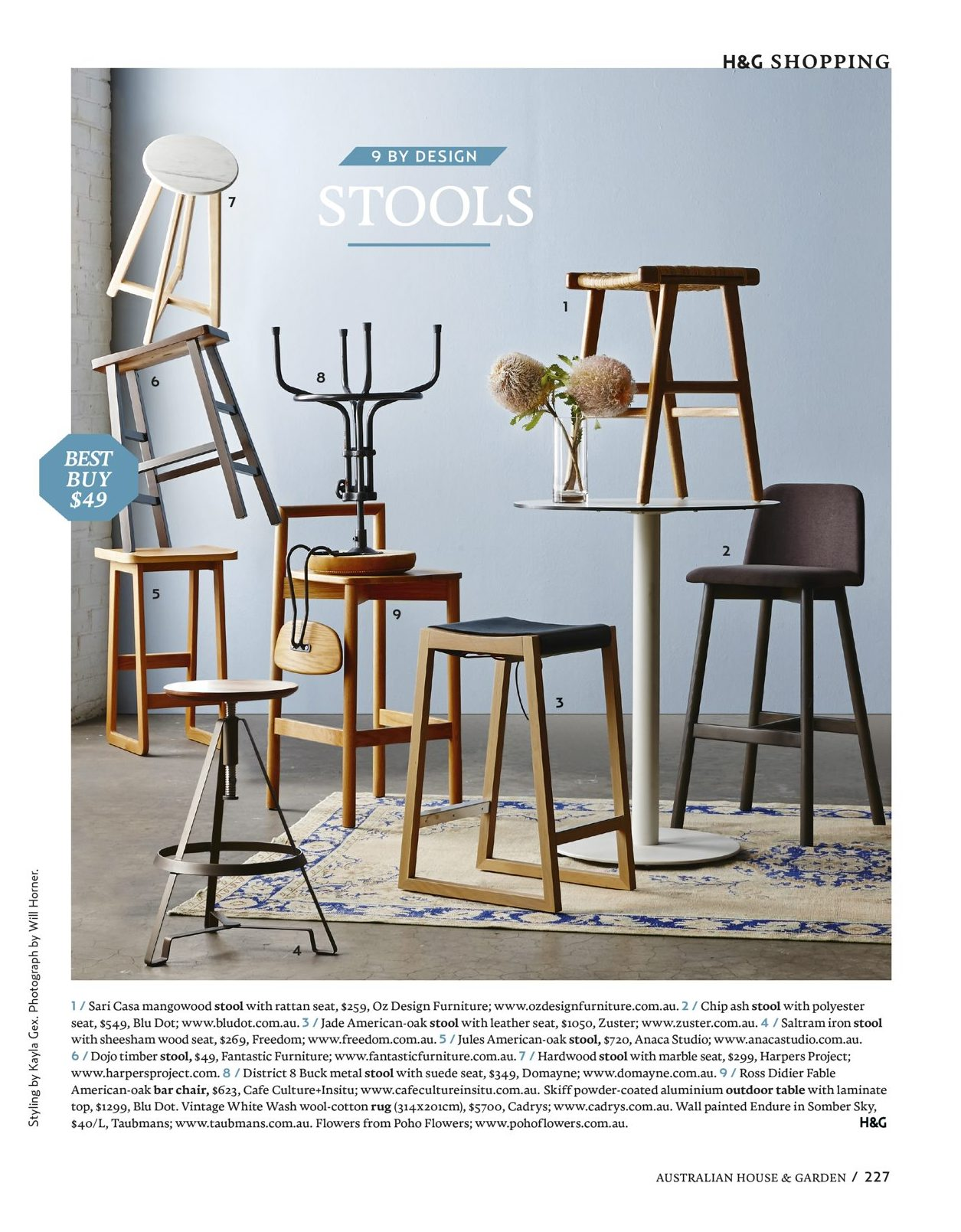Sept 2015 - House & Gardens - featuring Jules stool in timber (back left)
