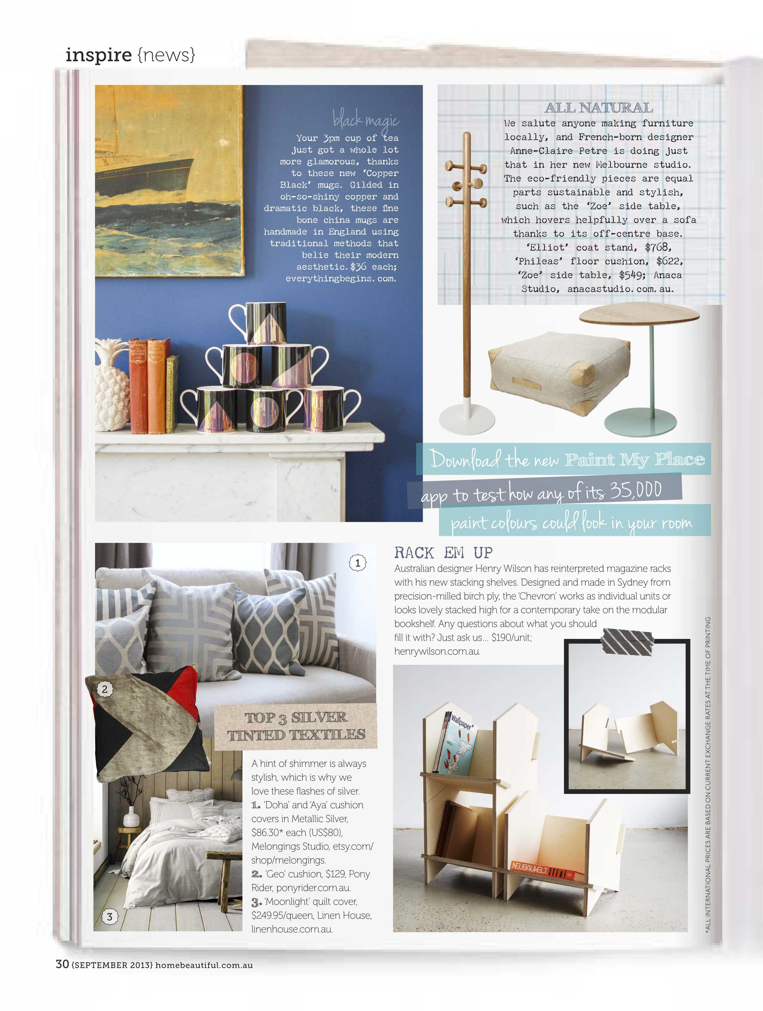 "September 2013 - Home Beautiful - ""All Natural"" Featuring Elliot coat stand Zoe table and Phileas cushion"