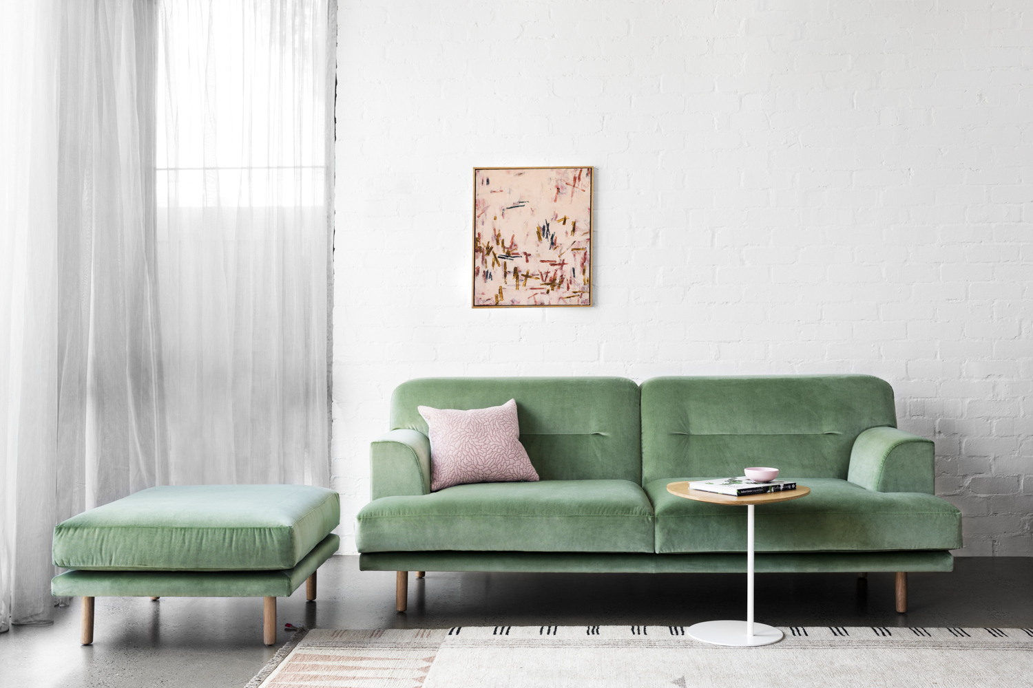 Camille ottoman - On its own or to accompany your sofa, it is inspired by a love of Scandinavian style and modernist aesthetics.