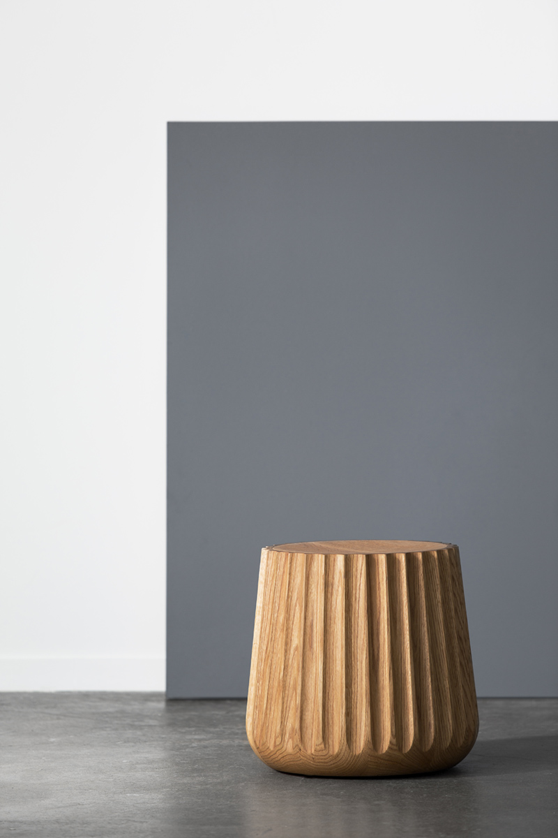 Emi pod - Made of solid Red oak, EMI has a beautiful fluted profile, not just a decorative element to their beautiful simple shape but a stunning visual and tactile appeal.