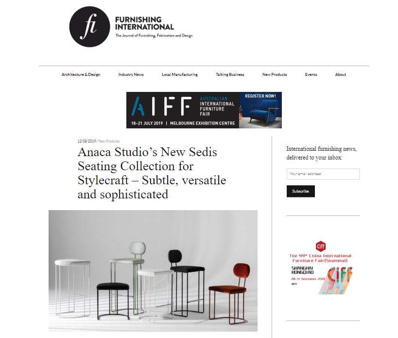 Furnishing International - Sedis Collection - 12 August 2019