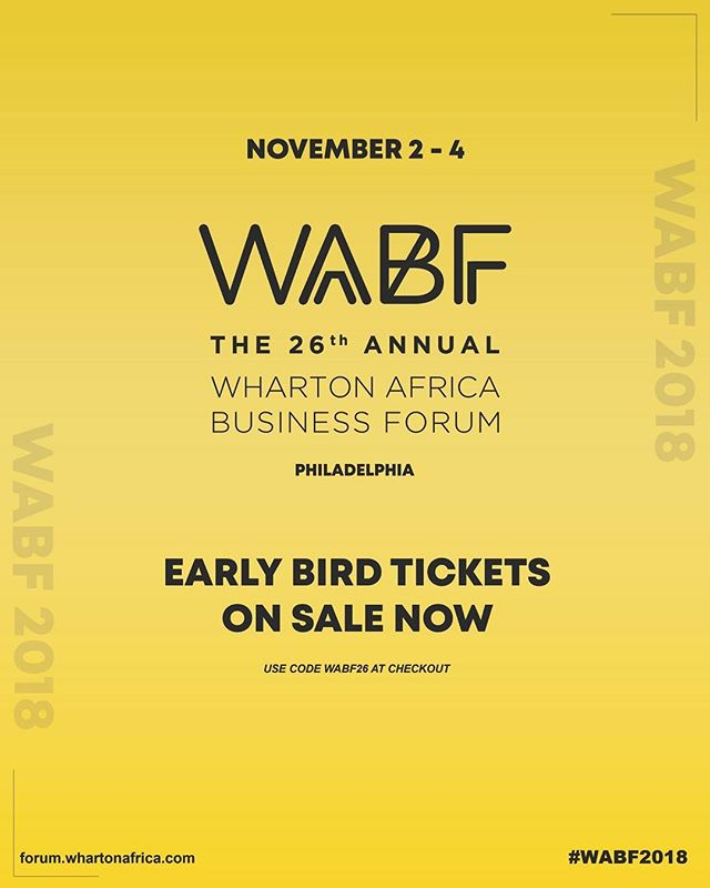 WABF early bird tickets are out! Go get em before the sell out! Visit forum.whartonafrica.com for more details!