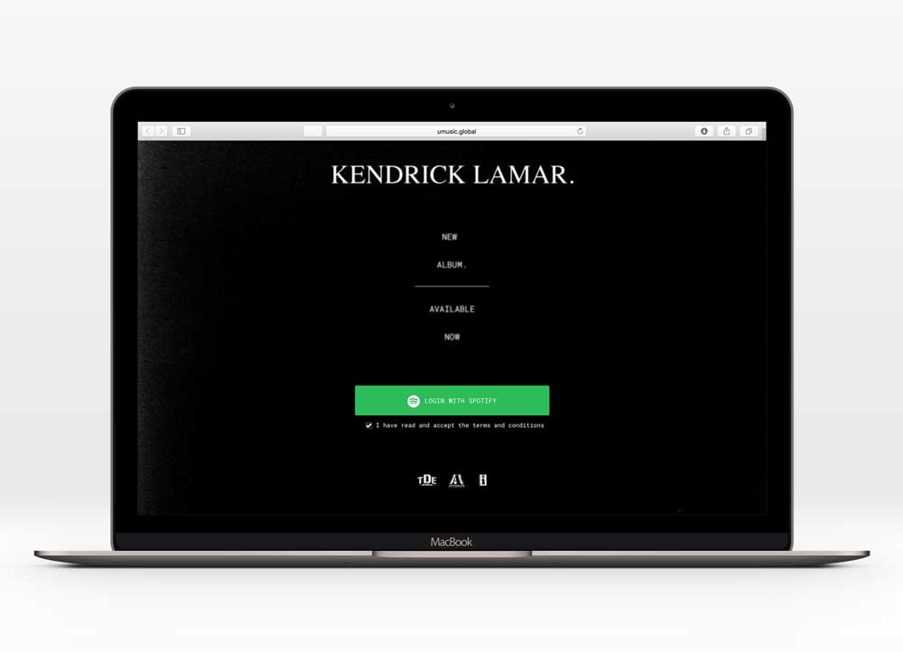 KENDRICK LAMAR - DAMN.UX Design  28,100+ unique users  In collaboration with Interscope Records, Top Dawg Entertainment & Aftermath Entertainment