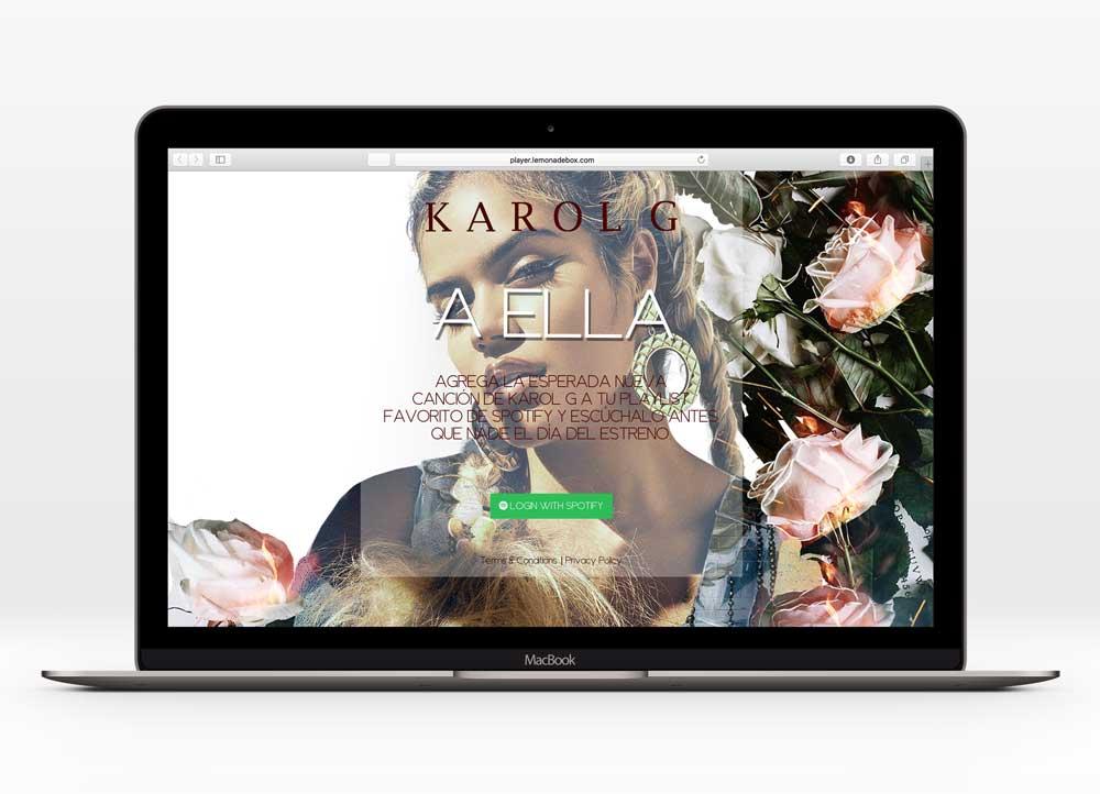 KAROL G - A ELLAUX Design  38,500+ unique users  In collaboration with Universal Music Latin America