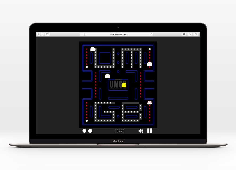 UNIVERSAL MUSIC GLOBAL BRANDS - MAZE GAMEUX Design   designed a branded maze game that functions similarly to the original Pac-Man game