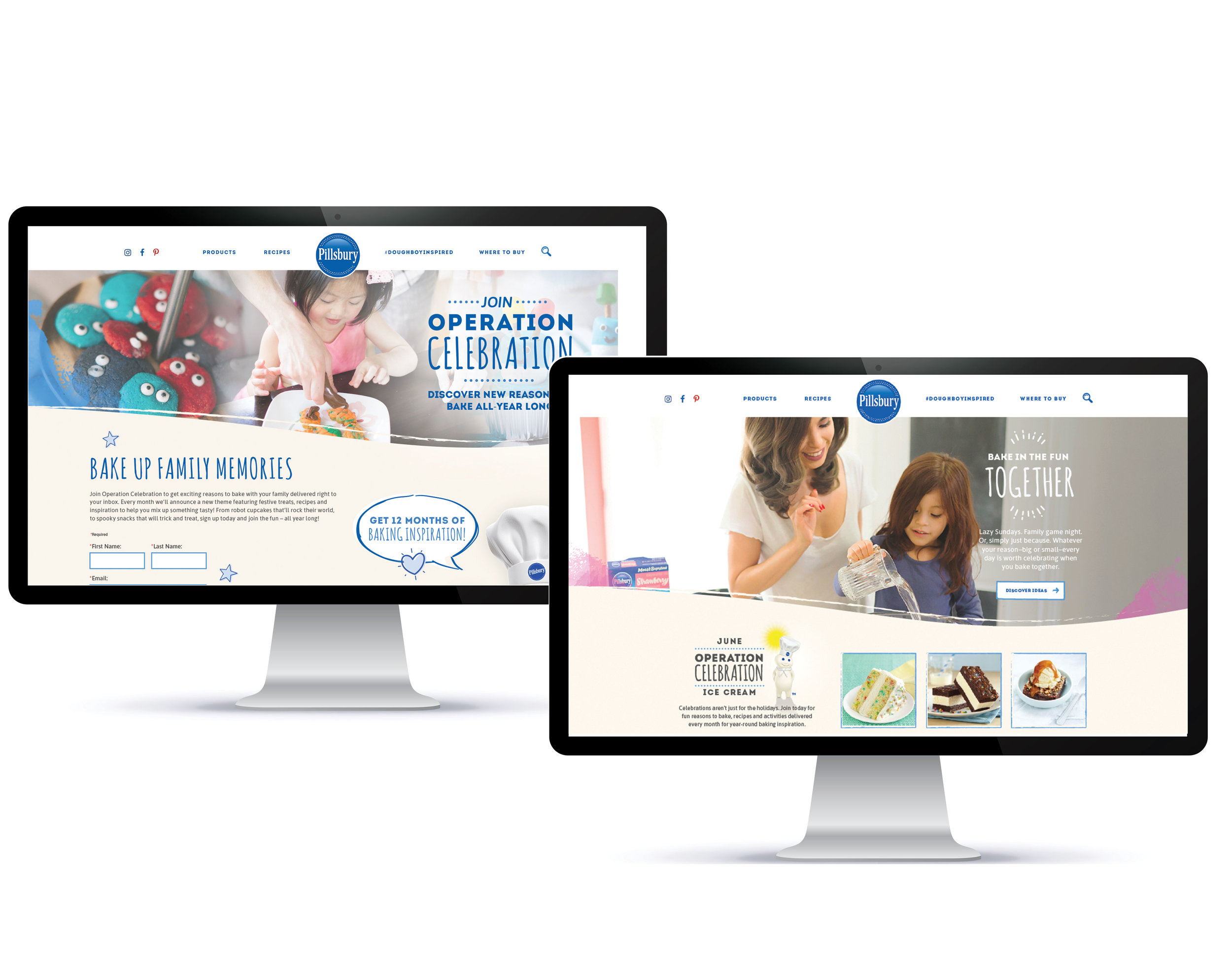 PILLSBURY BAKING WEBSITE |  Every month the Pillsbury Baking site is updated to feature the month's theme with relevant articles, listacles and recipe content of the featured theme while other media drivers drive users to sign-up for additional content inspiration.