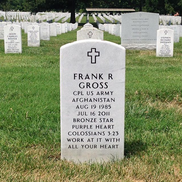 "Today we honor the brave soldiers who paid the ultimate sacrifice for our freedoms and in freeing those oppressed. I'll never forget you, Frank! RIP battle. ""All gave some, some gave all"" #memorialday #sacrifice #veterans #freedom"