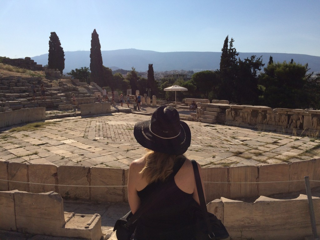 Taking a moment at bottom of Acropolis