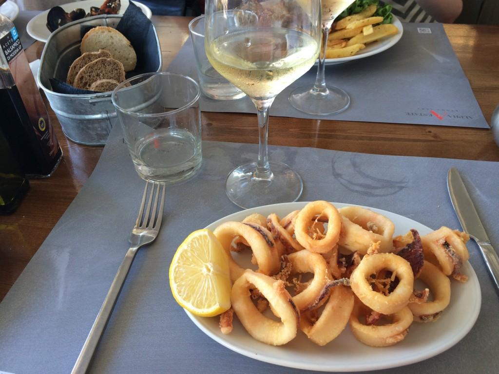 Our first meal in Mykonos - Calamari, Tzatziki, Pita Bread