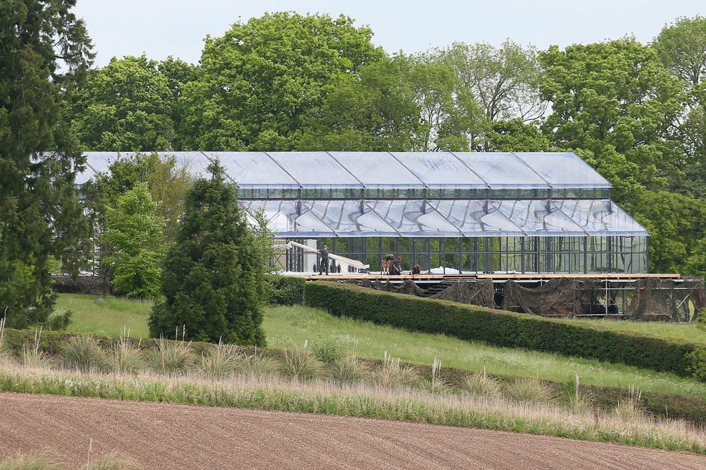Glass marquee goes up for Pippa Middleton's wedding.