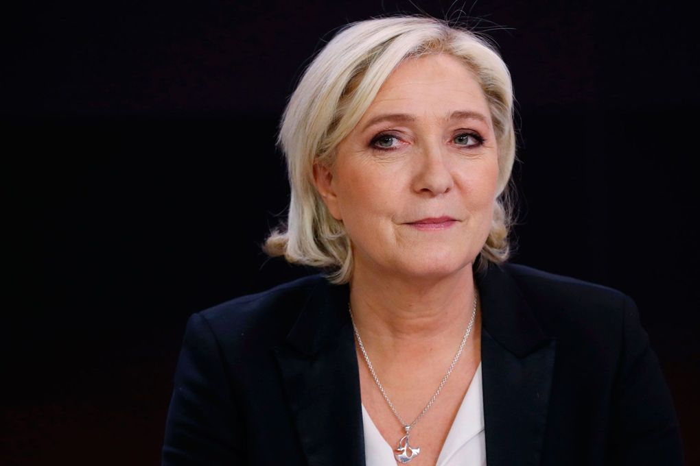 Far-right presidential candidate Marine Le Pen resigns as leader of the Front National party.