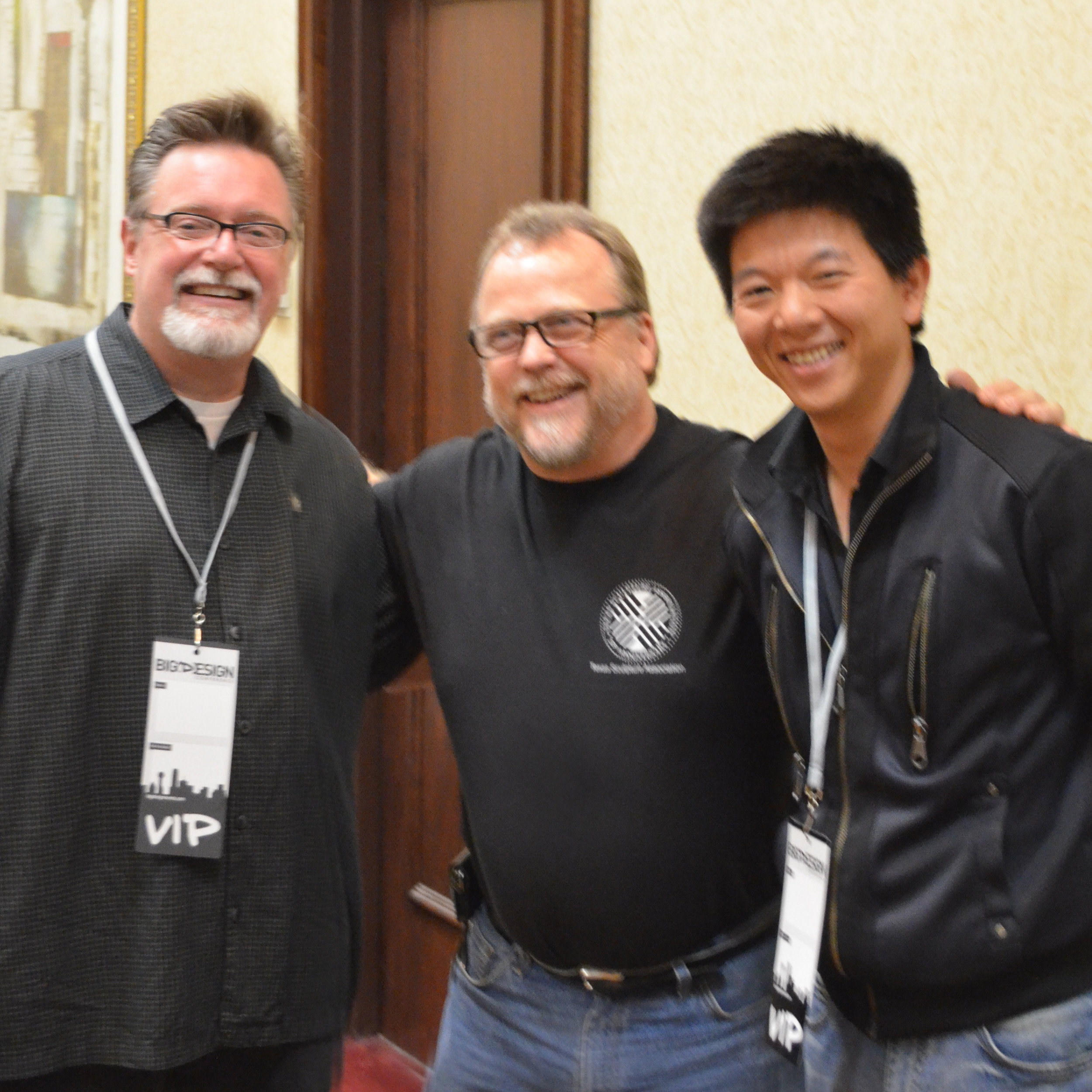 Roger and the Producers - Roger standing proudly with two great producers. On my right, Keith Alcorn, creator of  Jimmy Neutron , Boy Genius, on my left, I love that show. Yu Hsiu Yang, producer of the new inspiring film, Design & Thinking. Design & Thinking is a great film about my profession and a fellow Kickstarter funded project. The BIG(D)ESIGN 2012 Multimedia and Film Track was a big hit! And of course, i am sporting my Texas Sculpture Association t shirt.
