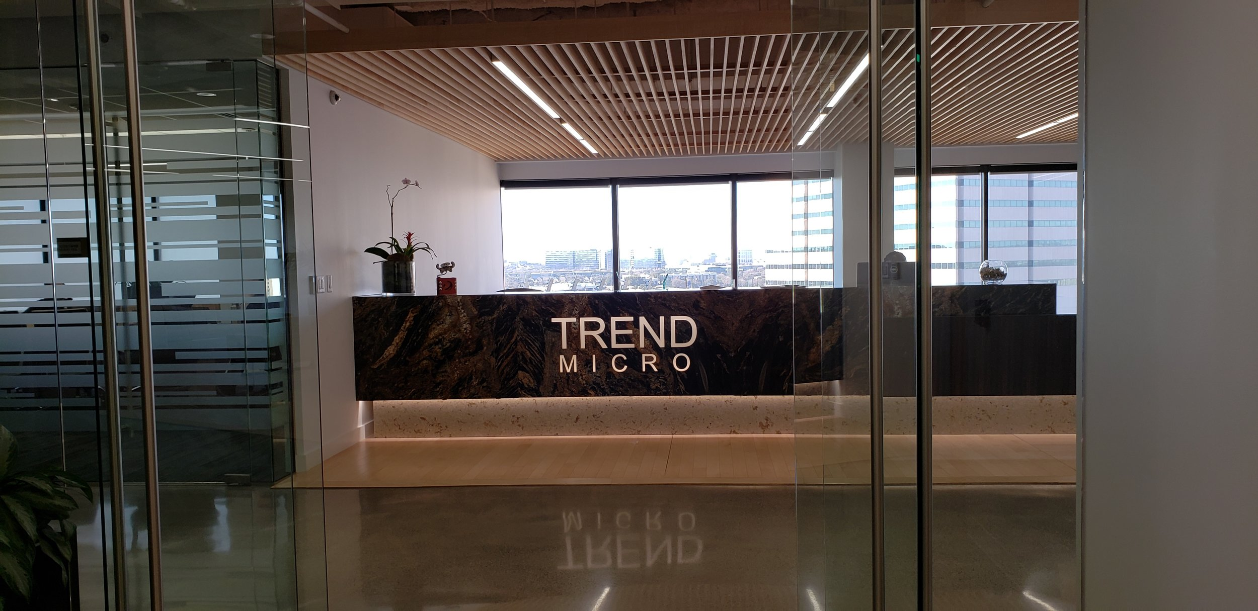 Art greets you at the  Trend Micro  corporate headquarters in  Las Colinas, TX.