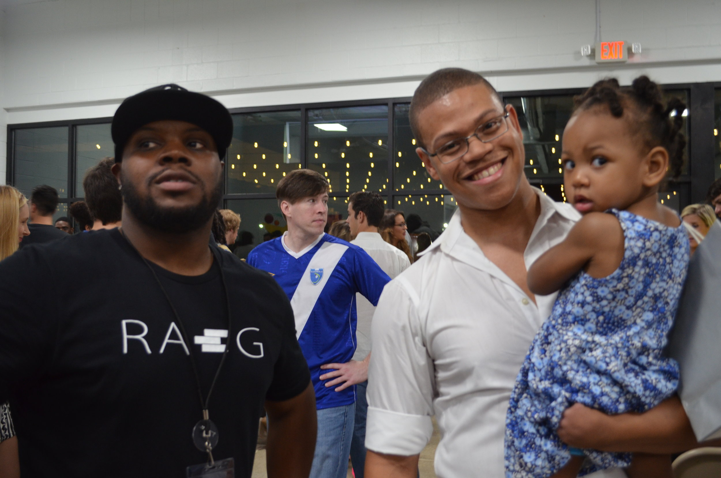 Jason, partner in the RA+G Gallery with Desmond Blair and Desmond's daughter.