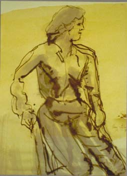 Sketch by Roger Belveal in ink from Bob Graves' drawing class