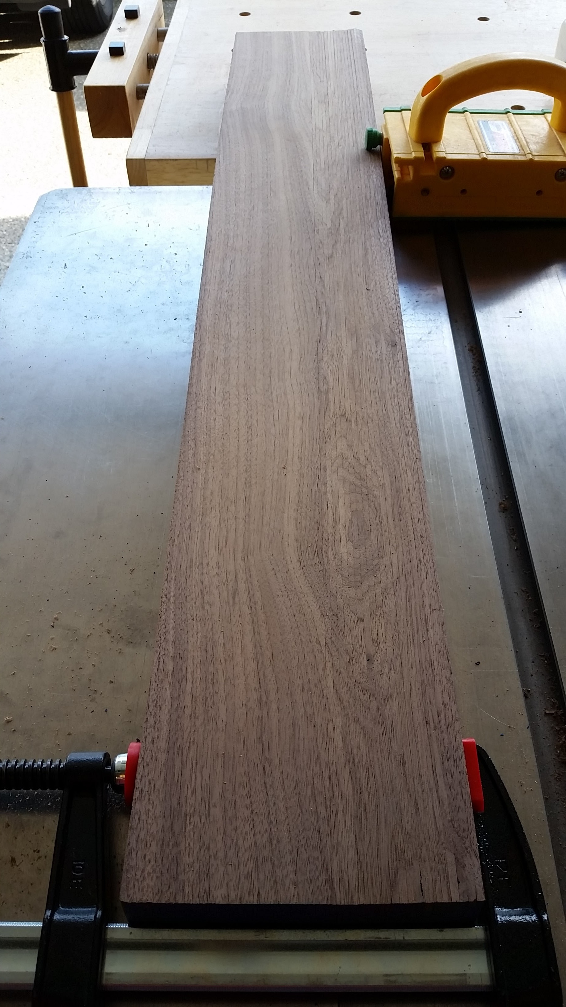 "Sequential 1/8"" splat strips clamped together to show grain match."