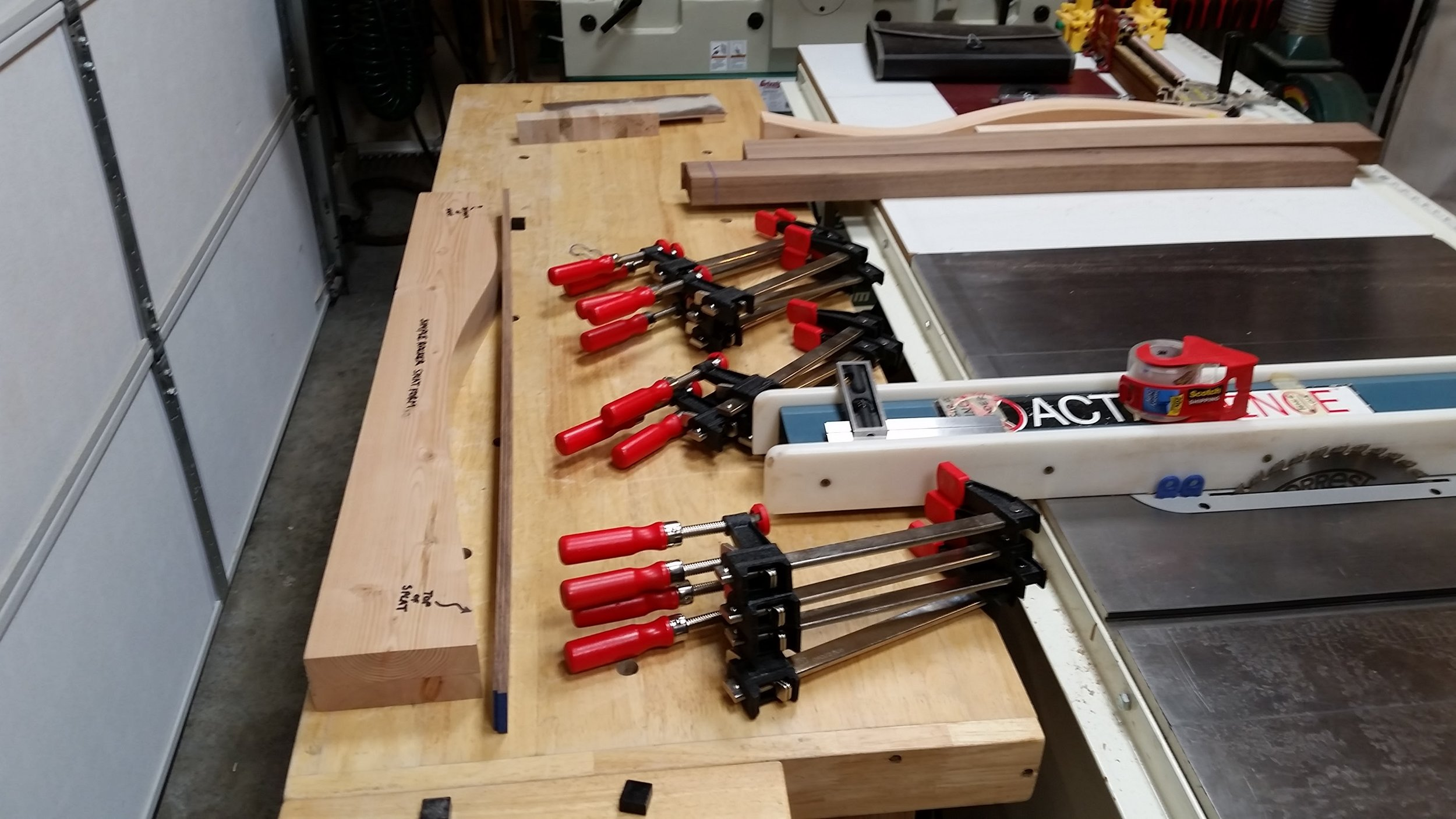 Clamps prepped and ready for first splat glue-up.
