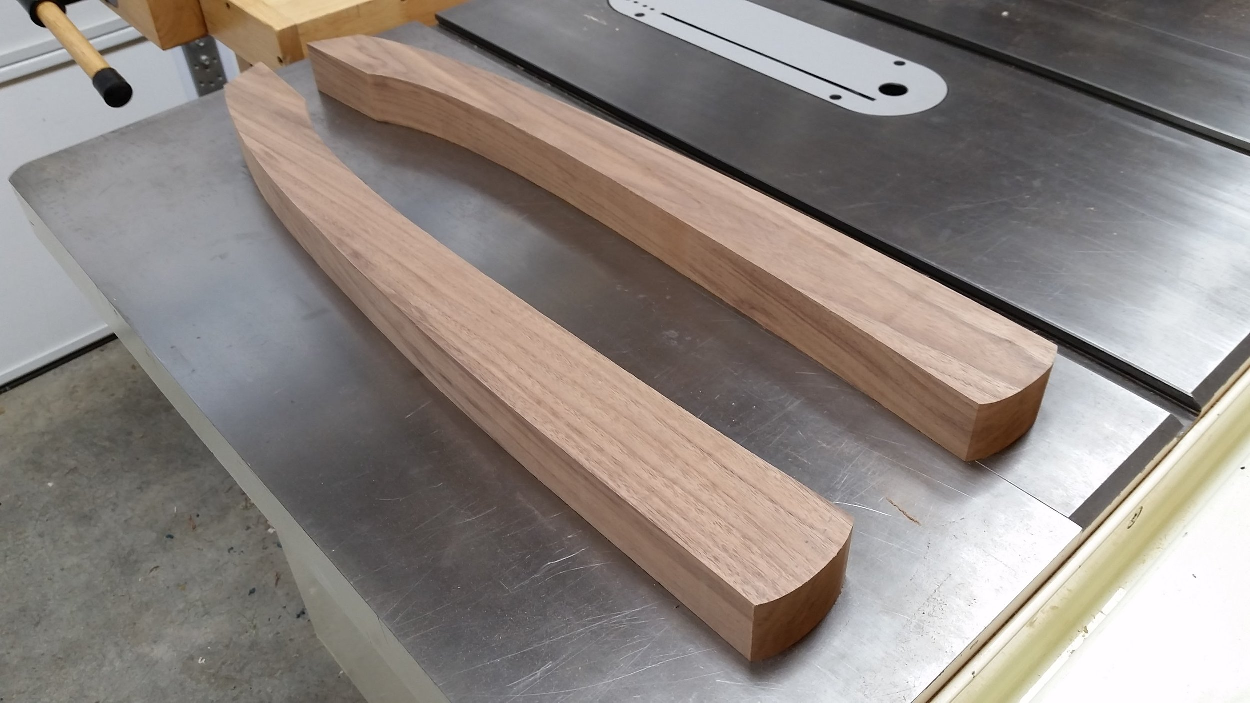 "I put the new 1/4"" bandsaw blade to work and cut out the two arm blanks. Then a few minutes on the spindle sander to smooth the edges, and BAM, I now have two arms ready to go."