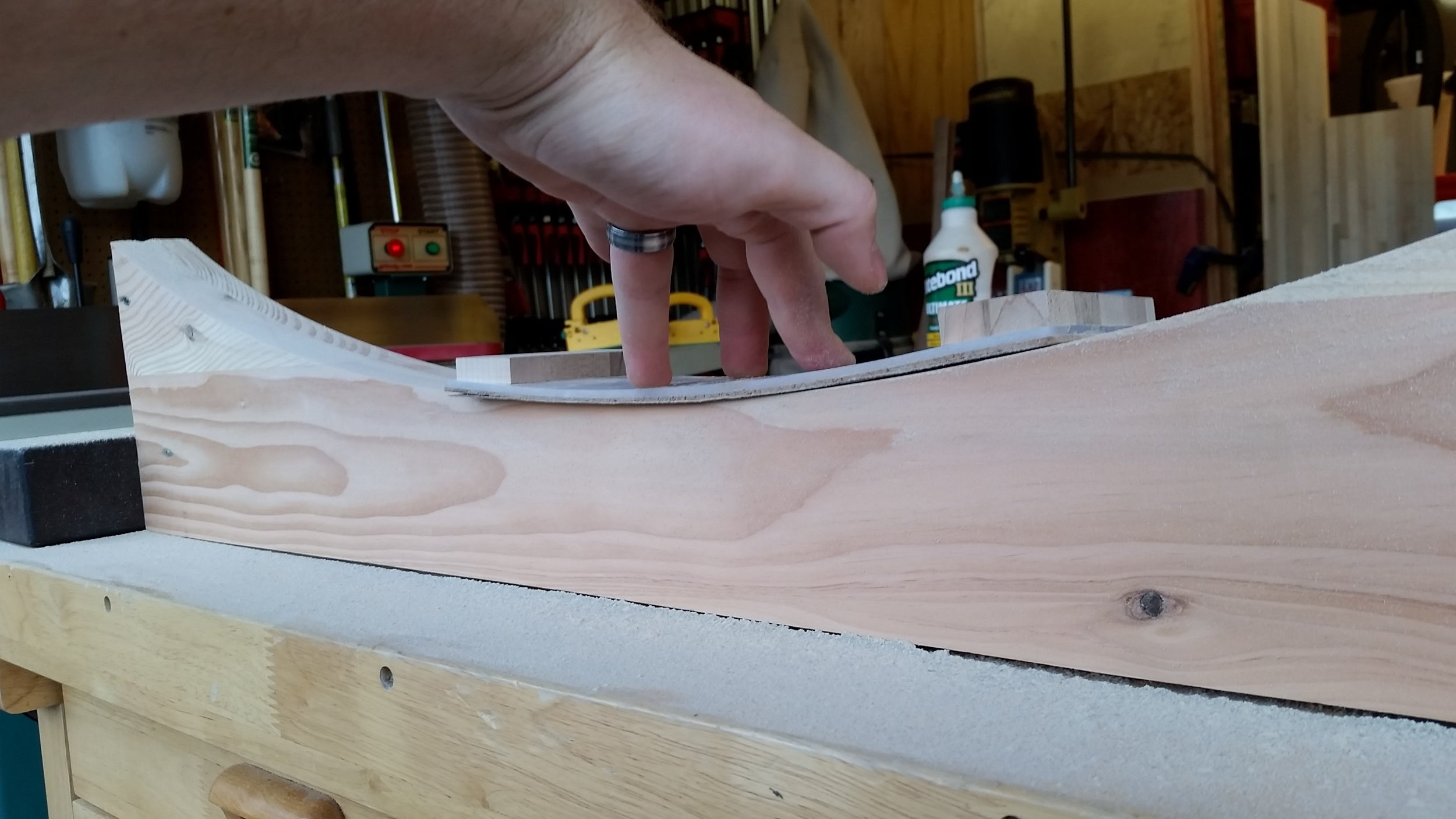 I made a flexible sheet sander to sand the form into smooth and even curves.