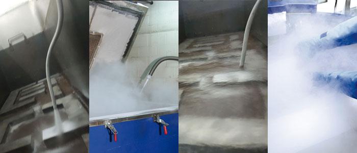 Figura 1. En esta imagen se muestra cómo el acero es sometido a nitrógeno liquido para llevar el material a la temperatura de -196°C para después subir a temperatura ambiente y cumplir de esta manera con el proceso criogénico. La imagen ha sido reproducida del sitio web de Duralitte, una compañía dedicada a la fabricación de componentes industriales:  http://www.duralitte.com/tratamiento-criogenico.html