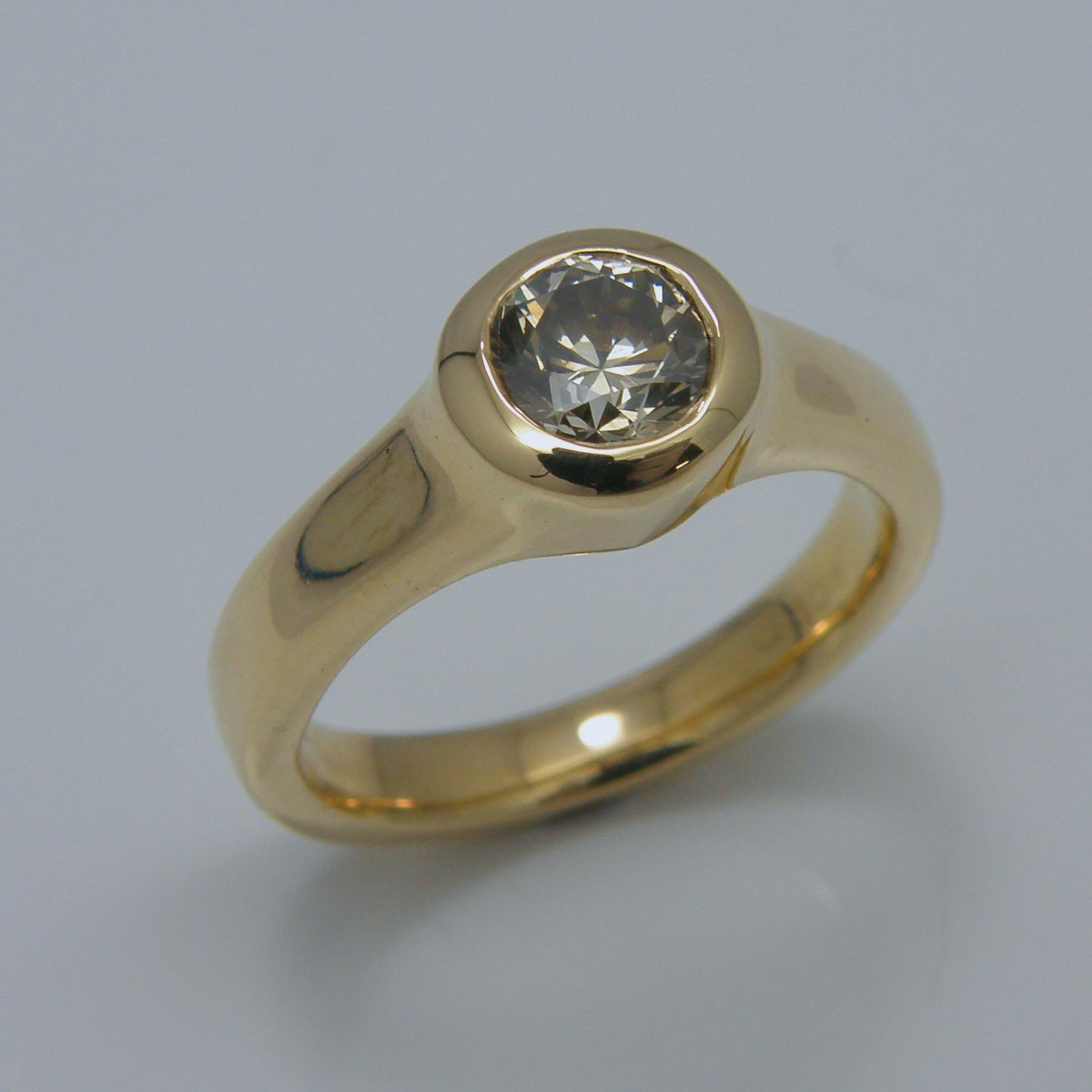 Chocolate Diamond Engagement Ring - 0.75 carat natural brown diamond set in 18 karat gold.#ChocolateDiamond #NaturalBrownDiamond