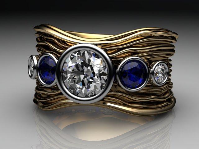 Diamond sapphire ripple ring 2.jpg