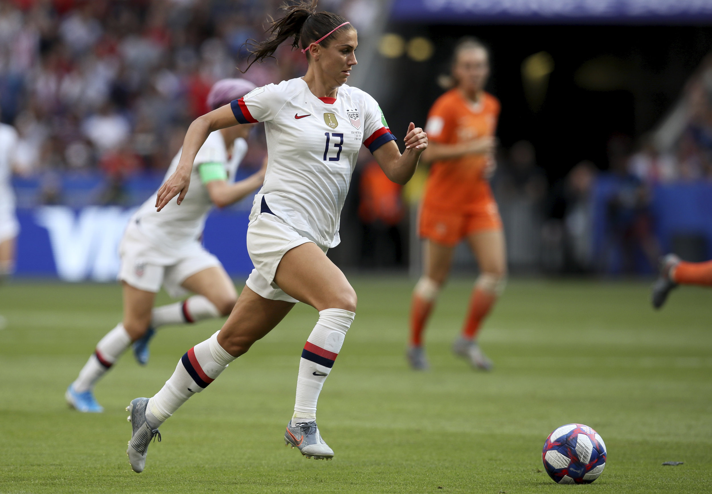 Stadium Talk covered the Women's World Cup using photos, like this one of Team USA's Alex Morgan, from AP Images. (AP Photo/David Vincent)
