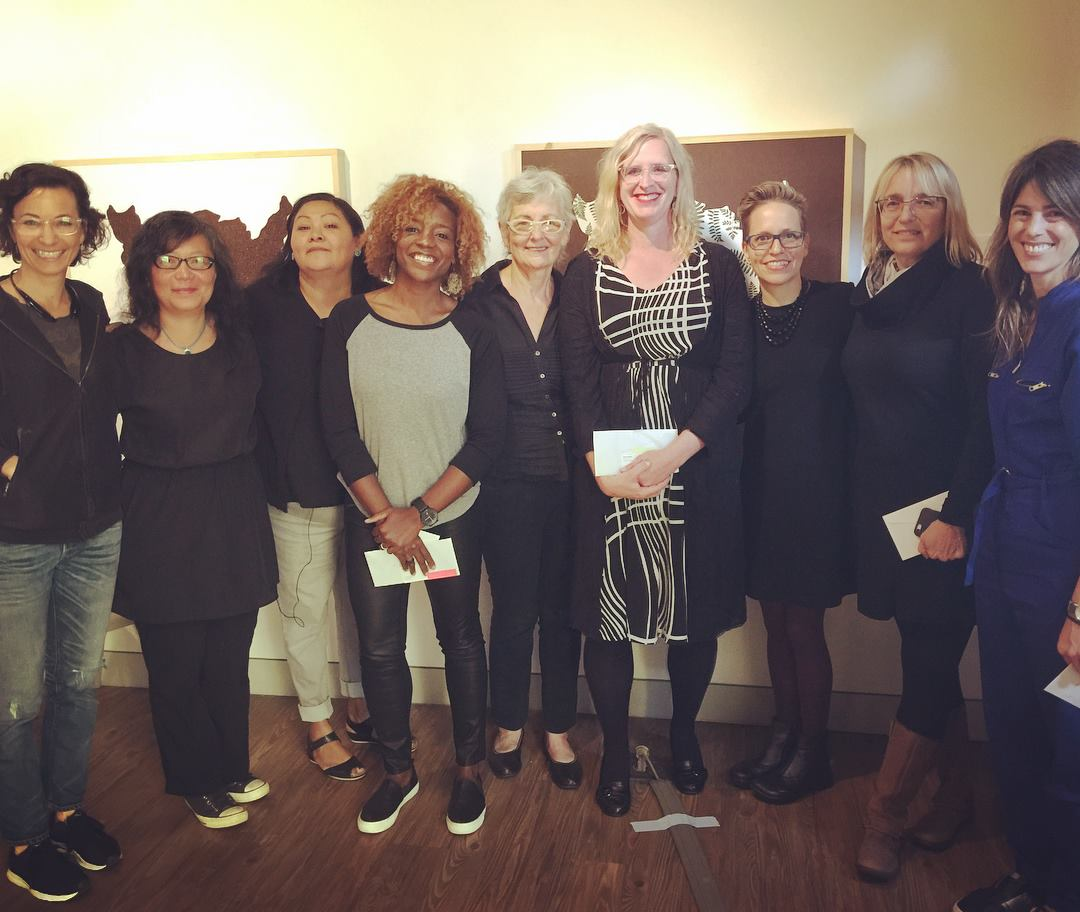 "The artists from ""Nasty Women: Art Talks"" 21 Oct 2017.  Linn Meyers ,  Mei Mei Chang ,  Nekisha Durrett ,  Judy Byron ,  Rahne Alexander ,  Fabiola Alvarez Yurcisin ,  Sue Wrbican ,  Roxana Alger Geffen  and  The Studio Visit  at  Arlington Arts Center . Photo by Isabel Manolo."