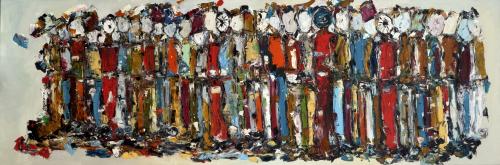 The Crowd   50cm * 150cm (Oil on canvas)   Futuristic Nostalgia Exhibition 2015