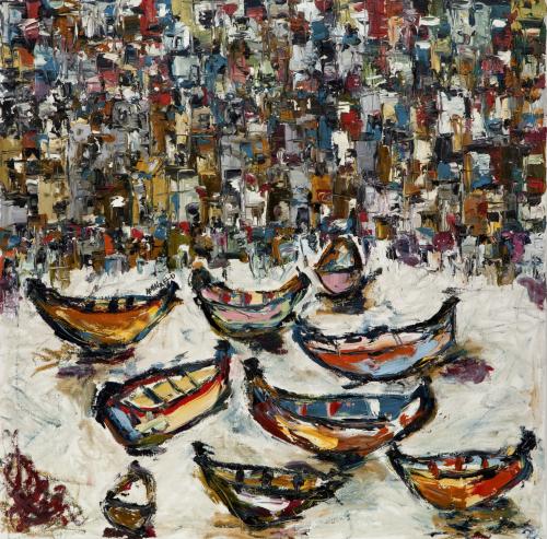 Untitled   80 cm * 80cm (Oil on canvas)   Exhibition: Futuristic Nostalgia 2015
