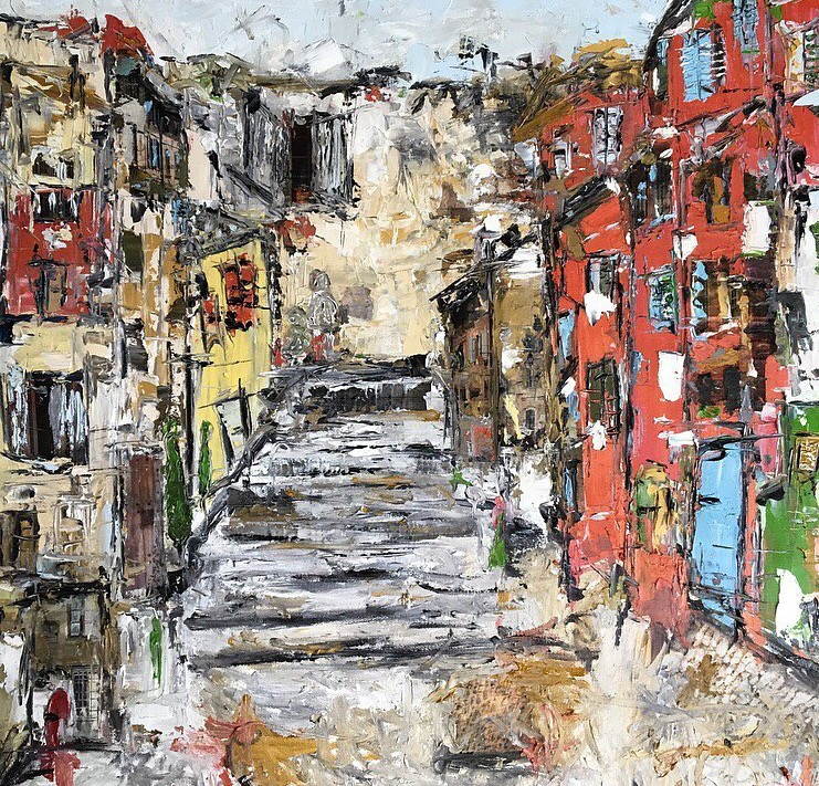 Alleys in Florence  70 cm * 70 cm (mixed media on canvas)   Exhibition: The Blue Door 2016