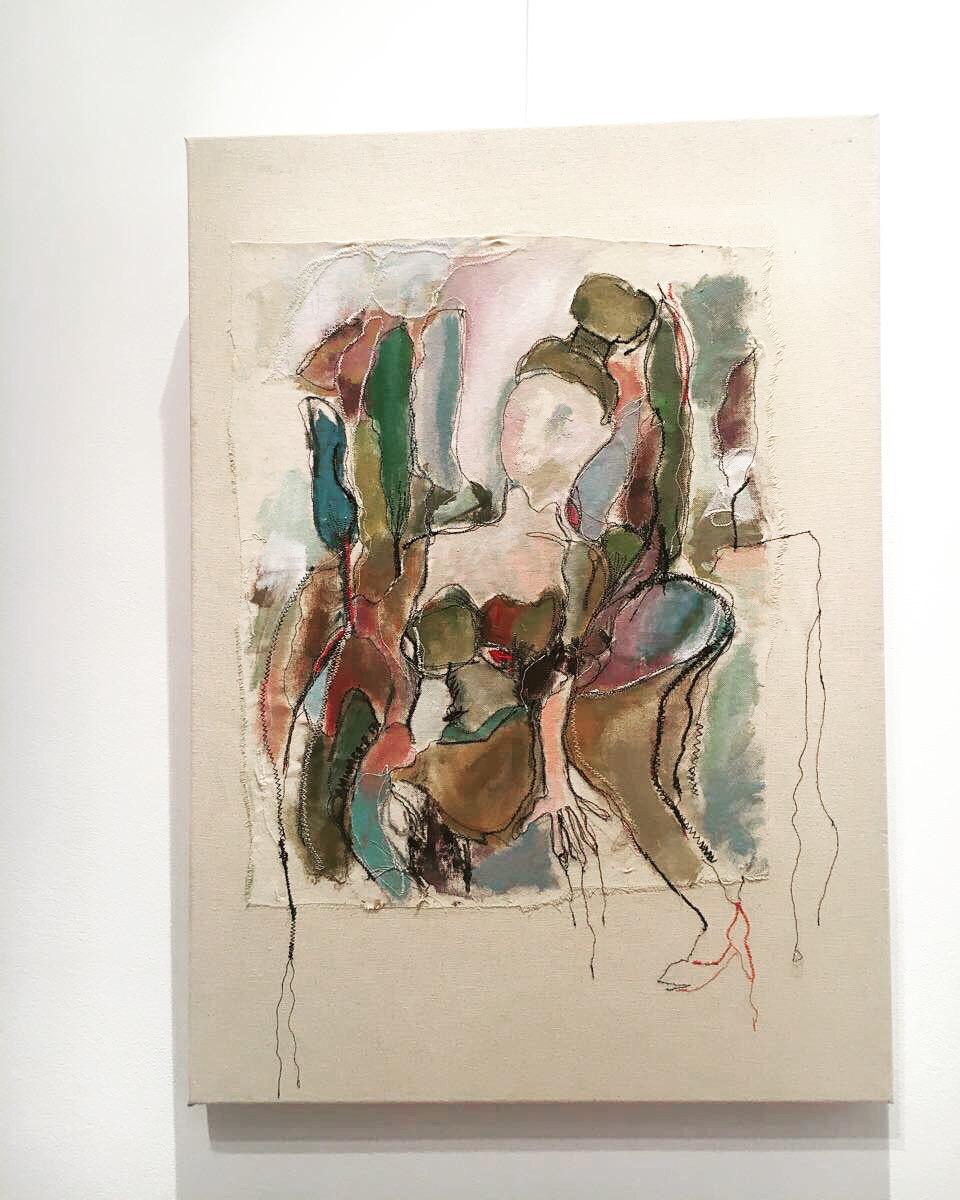 Acrylic & thread on canvas