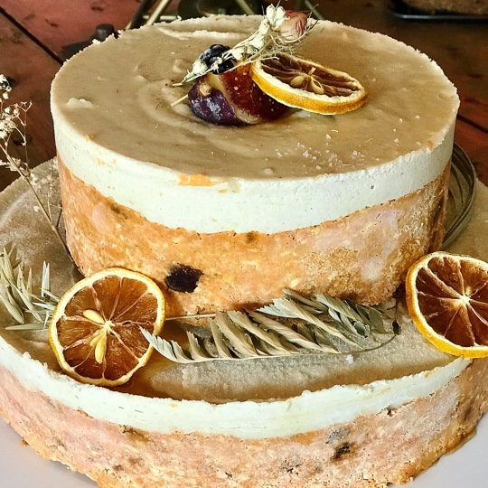 Raw Carrot cake. We can make one tier or two; vibrant, fresh. autumn spices and fruity. £30 - £50  Cashews, variety of dried fruits, Fresh carrot, spices, Date