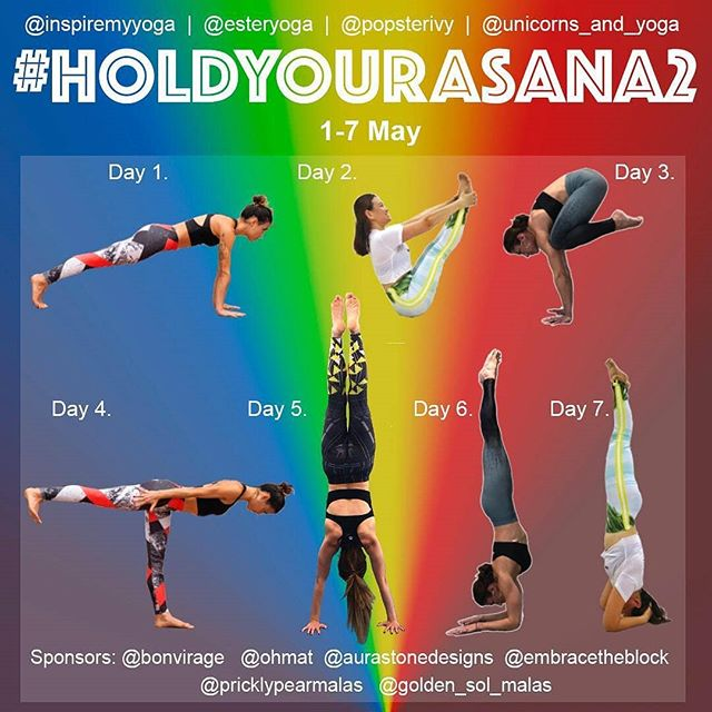 🌟 Yoga Challenge Announcement 🌟 . Please join us for another round of #HoldYourAsana with #HoldYourAsana2 between  1-7 May.  A full week of asana to help gain strength, increase stamina and improve concentration.  If you joined us for round one, you won't want to miss out. Open to all abilities, hosts will offer modifications and tips to to help advance your practise. .  You can choose to post a photo, drills or a video with your recorded time. It's your practise! . Hosts: @esteryoga . @inspiremyyoga . @popsterivy . @unicorns_and_yoga . . . Sponsors:  @bonvirage @aurastonedesigns  @ohmat  @pricklypearmalas  @golden_sol_malas  @embracetheblock . 👉🏻For those who plan ahead:  Day 1. Plank  Day 2. Boat Day 3. Crow  Day 4. Warrior 3  Day 5. Handstand  Day 6. Forearmstand  Day 7.  Headstand . 👉🏻HOW TO JOIN: 1. Repost the flyer and tag some friends to join in.  2. Follow and tag ALL hosts and sponsors, this is important if you want to be eligible for a prize! 3. Post daily using #Holdyourasana2 . 4. Make sure your profile is public so we can see you. •  #yoga #yogagirl #womanpower #yogachallenge #yogini #asana #instadaily #amazing #challengeyourself #yogaeverydamnday #fitness #look #yoga4growth  #capture #getstrong #fitfam #loveyourbody #myyogabody