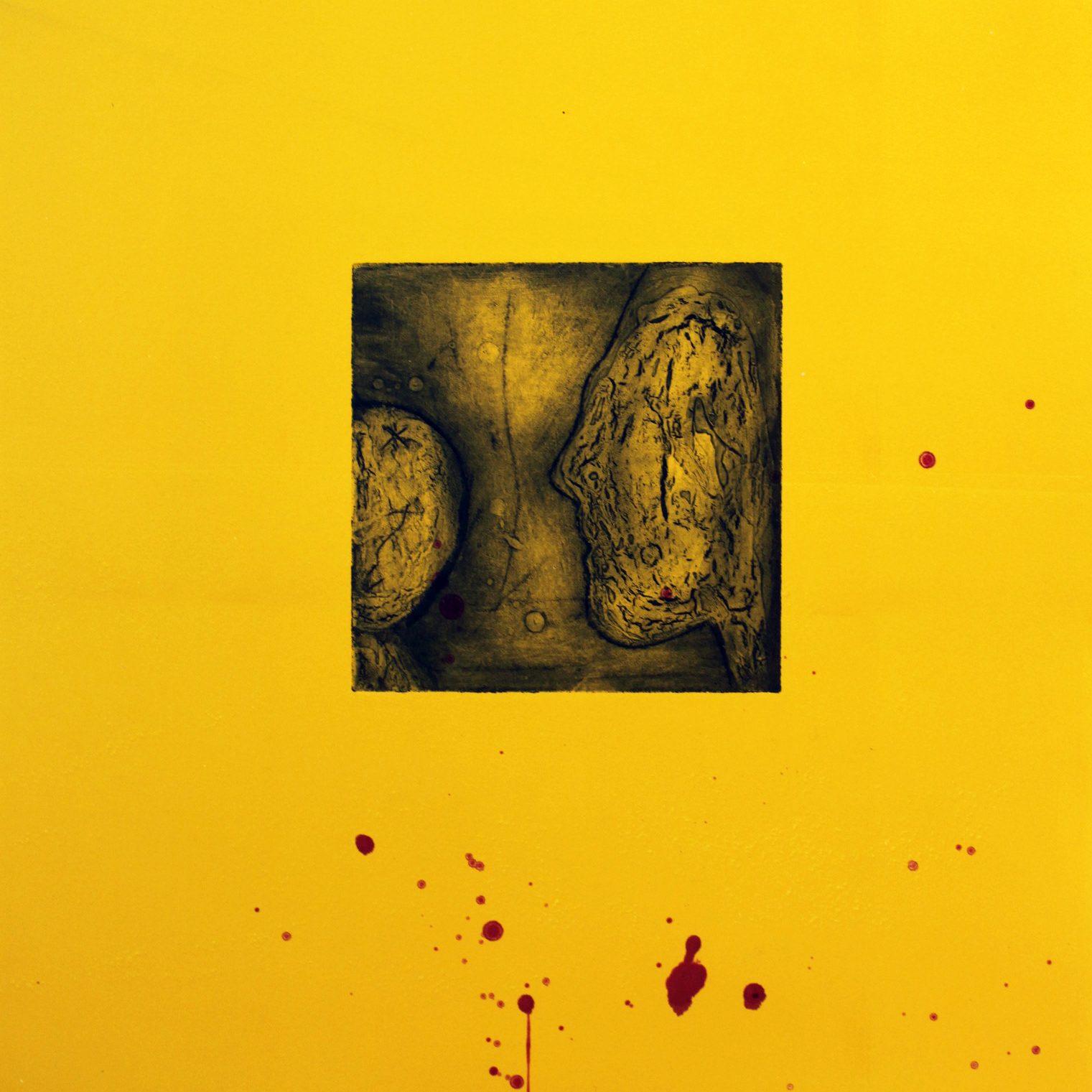 Untitled – Yellow, Collagraph and Monoprint (Collaborative Works from the Exhibition 'Ellipsis') (Approx 37 x 37cm on Hanhemuhle Paper)
