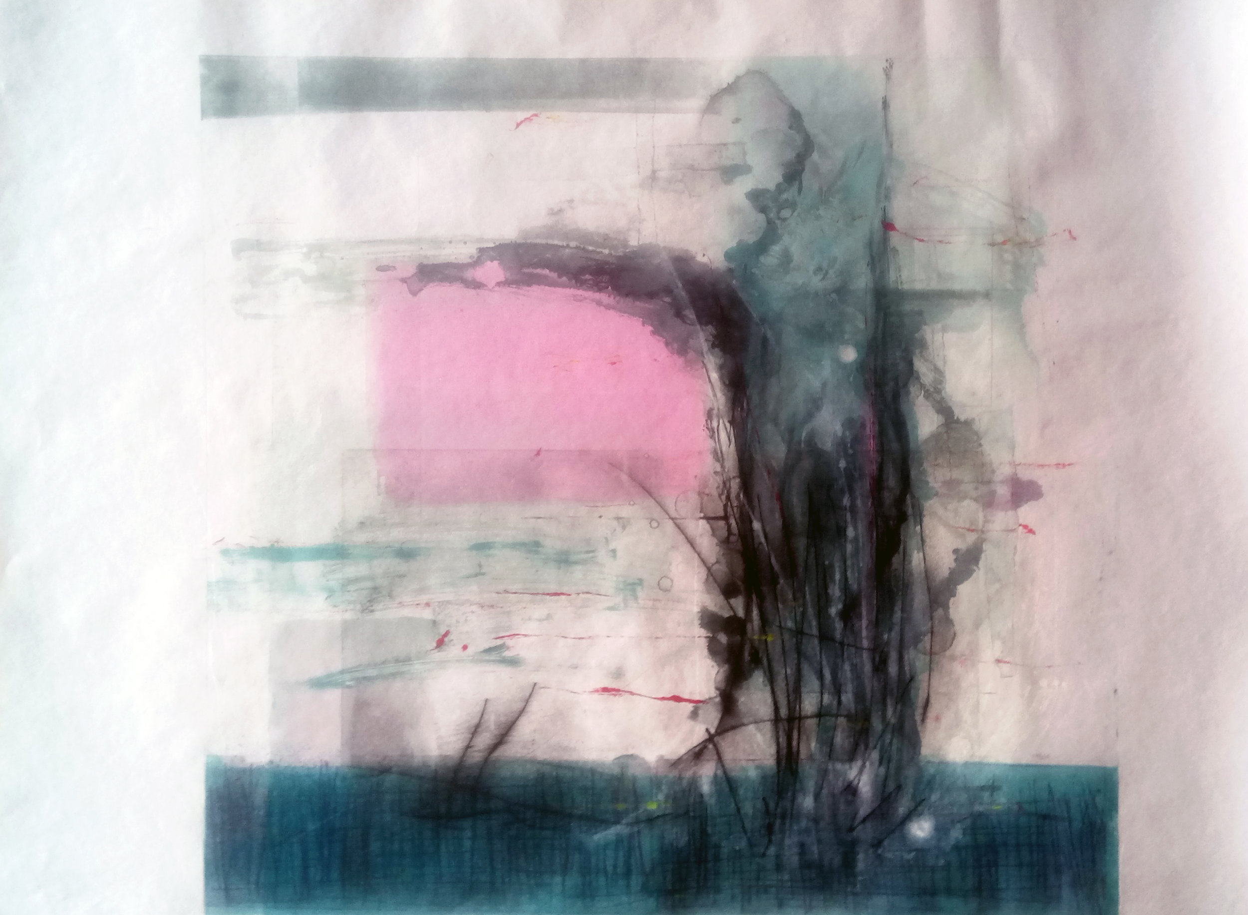 Monoprint with Drypoint on Japanese Tosa-Shi, August 2016