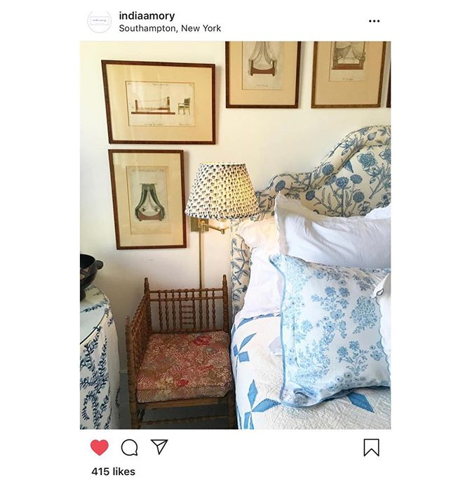 We were thrilled to wake up this morning to spot our Navy Bud lampshade amongst @indiaamory fabulous Hamptons, NYC project.  A huge thank you for including us 🙏 💙#blockprintlampshade #lampshadedesign #madeinengland