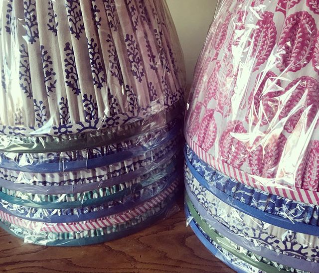 | B E S P O K E  L A M P S H A D E S | Our imaginative and creative client sent us these beautiful block printed tablecloths.  We had them made into bespoke lampshades and now these beauties are heading off to the most stunning and original luxury retreat in Somerset...Boheme @uniquehomestays @minkyluard . . . If you send us your fabric, we can make any size in both empire or drum, gathered or flat, table or wall light.  We'd hope to get them delivered to you within 10 working days  #lampshadedesign #sendusyourfabric #madeinengland #bespokelampshades