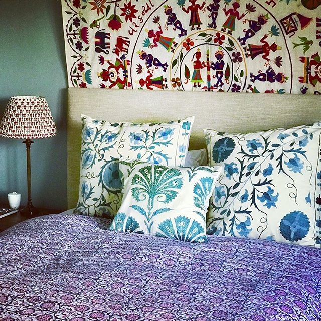 🌈🌈🌈These stunning textiles are sourced from both India and Uzbekistan adding the most glorious burst of colour and texture to this bedroom 🌈🌈🌈 . And we think our P A L A S H lampshade looks pretty perfect too . #lampshadedesign #bespokelampshades #madeinengland #happydreams