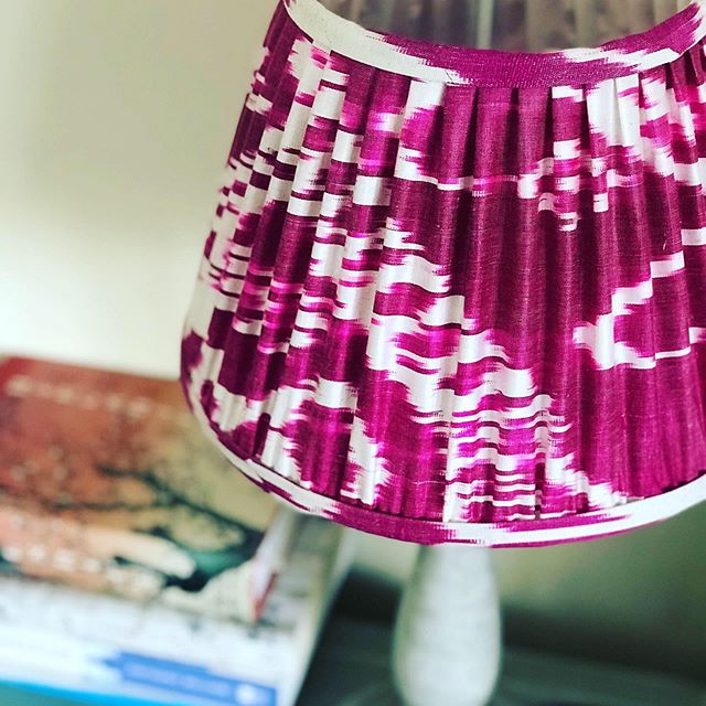 | B E S P O K E  L A M P S H A D E S | . A client was looking for a touch of bold and beautiful for her beside tables. We went on the hunt and sourced a big array of silk ikat fabrics and had this shocking pink made into two bespoke lampshades.  Bold and beautiful they most definitely are... 💕💕💕 #bespokelampshades #madeinengland #lampshadedesign #silkikat #ikatlampshades #sendusyourfabric