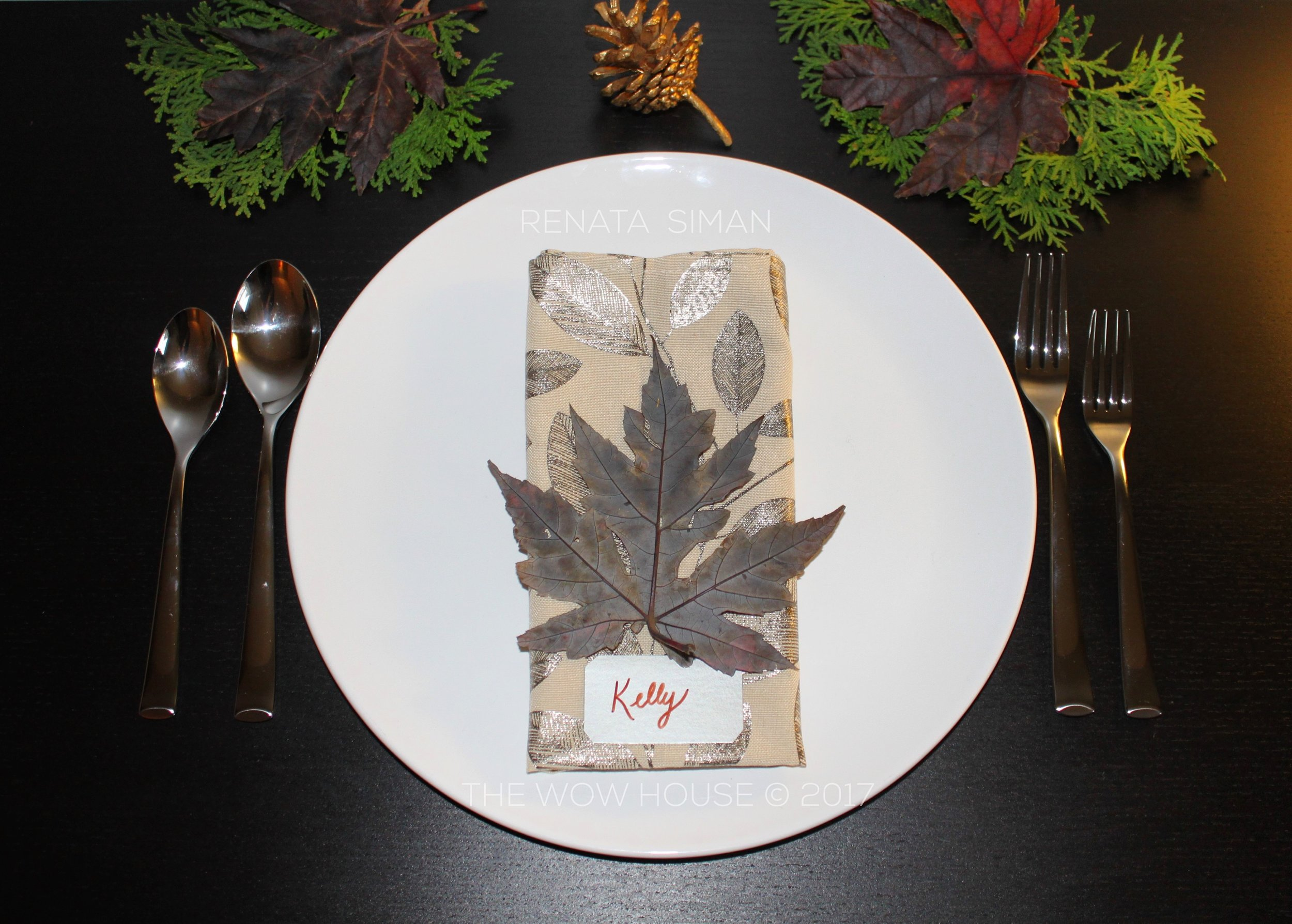 For a place setting with TRADITIONAL vibe I created this look. A little more shine if you will - a little more pewter and gold tones. MODERN-TRADITIONAL
