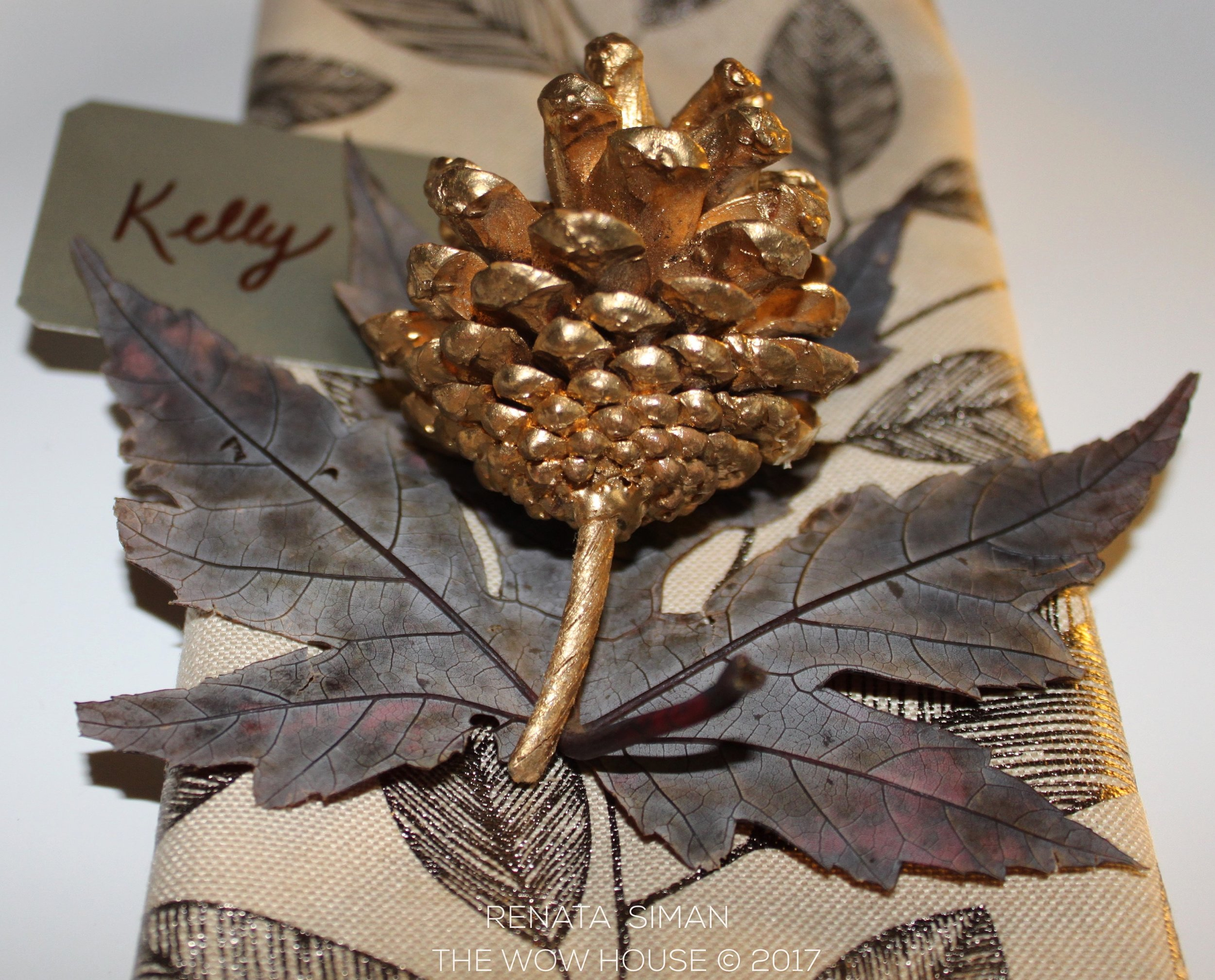 To create a name tag like this one you will only need a fine-tip brown sharpie and some thick pretty paper. I used a flap of the box - silver color gift box I had left over. Then cut each corner off for a more sophisticated polished look.