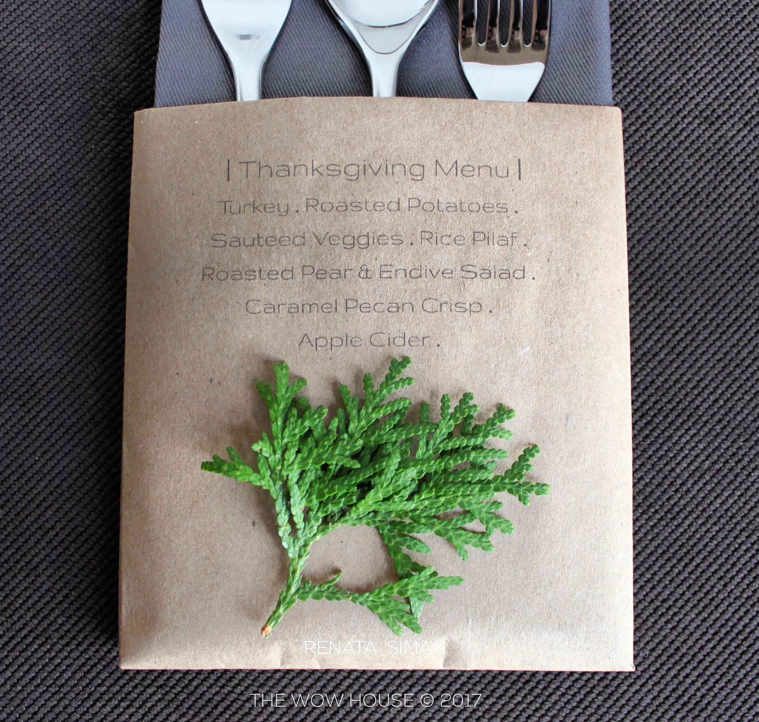 """Elegant. Simple.MINIMAL-MODERN. No need to deal with napkin rings if you don't have enough matching ones or the right style ones. Variations are endless here - you may even want to print a """"THANKFUL FOR"""" list with lines instead and include a pencil for each guest, as well as print the guest's name on it. First do the printing, then fold it into a pocket shape."""