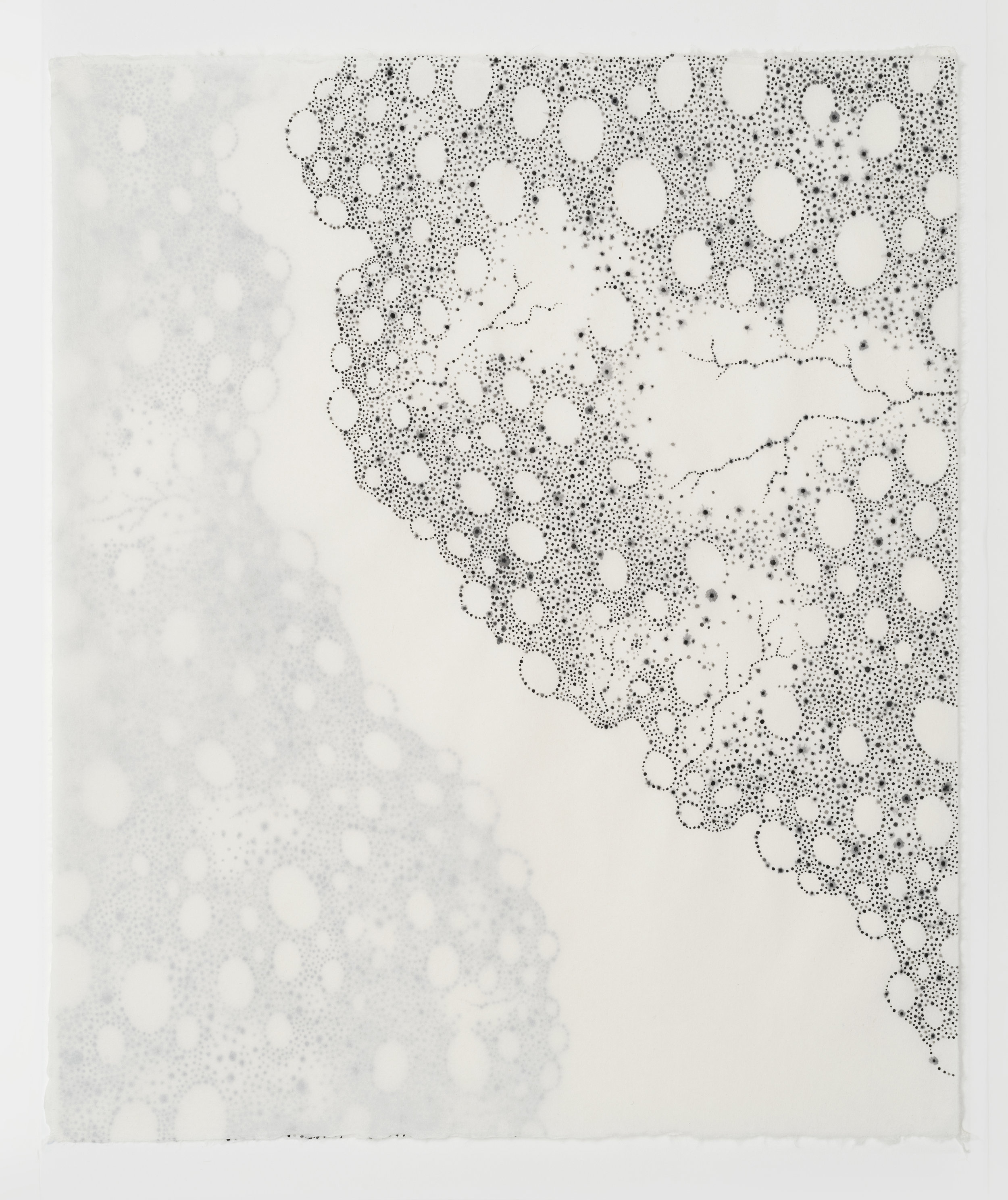 "Littoral Drift BK, egg tempera on layered hand made paper, 30""x28"", 2017"